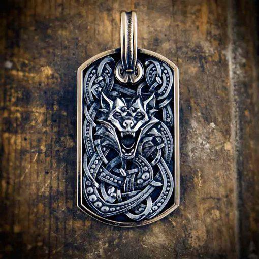Fenrir silver pendant dog tag by Vallheim