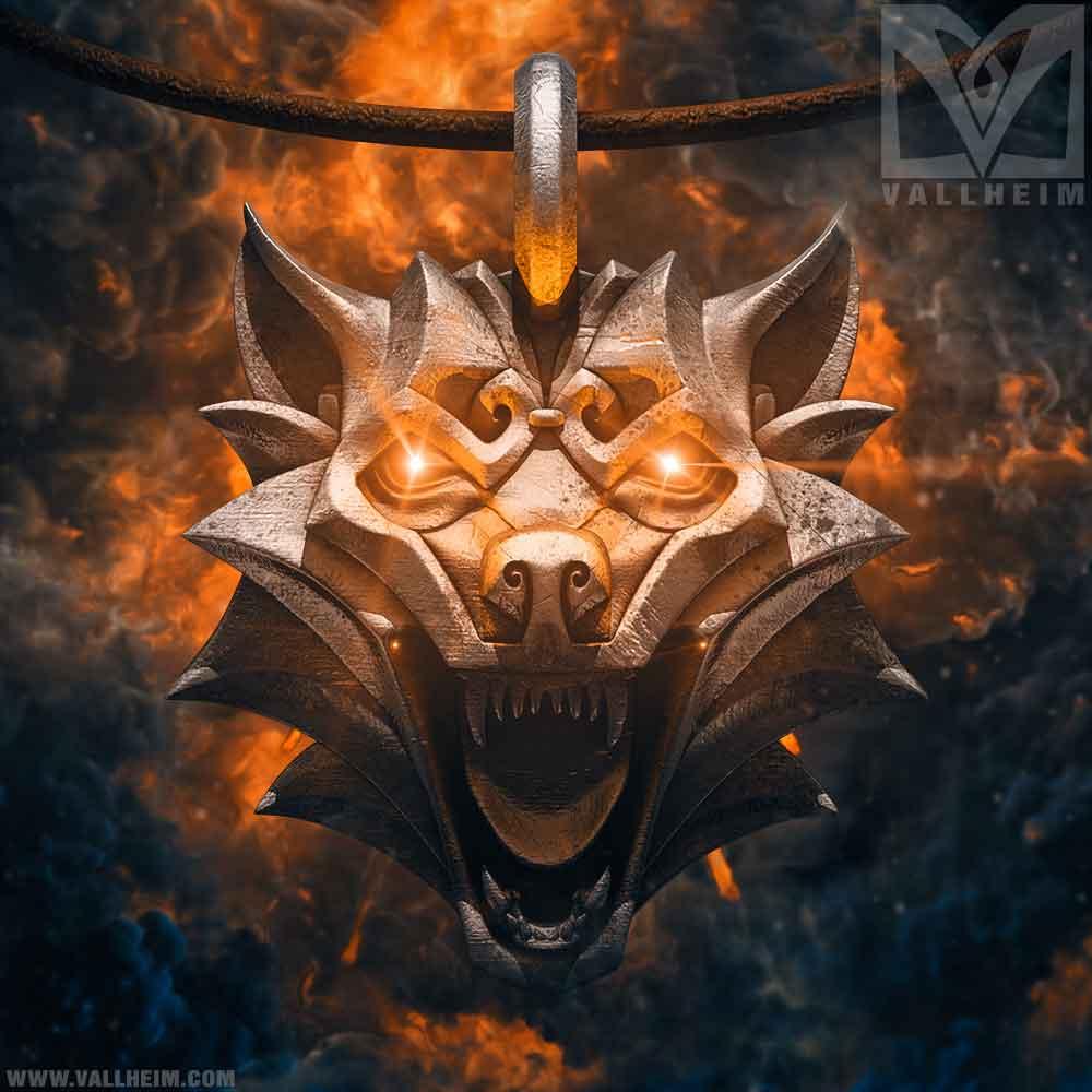 Fenrir-wolf-head-medallion-silver-promo-vallheim