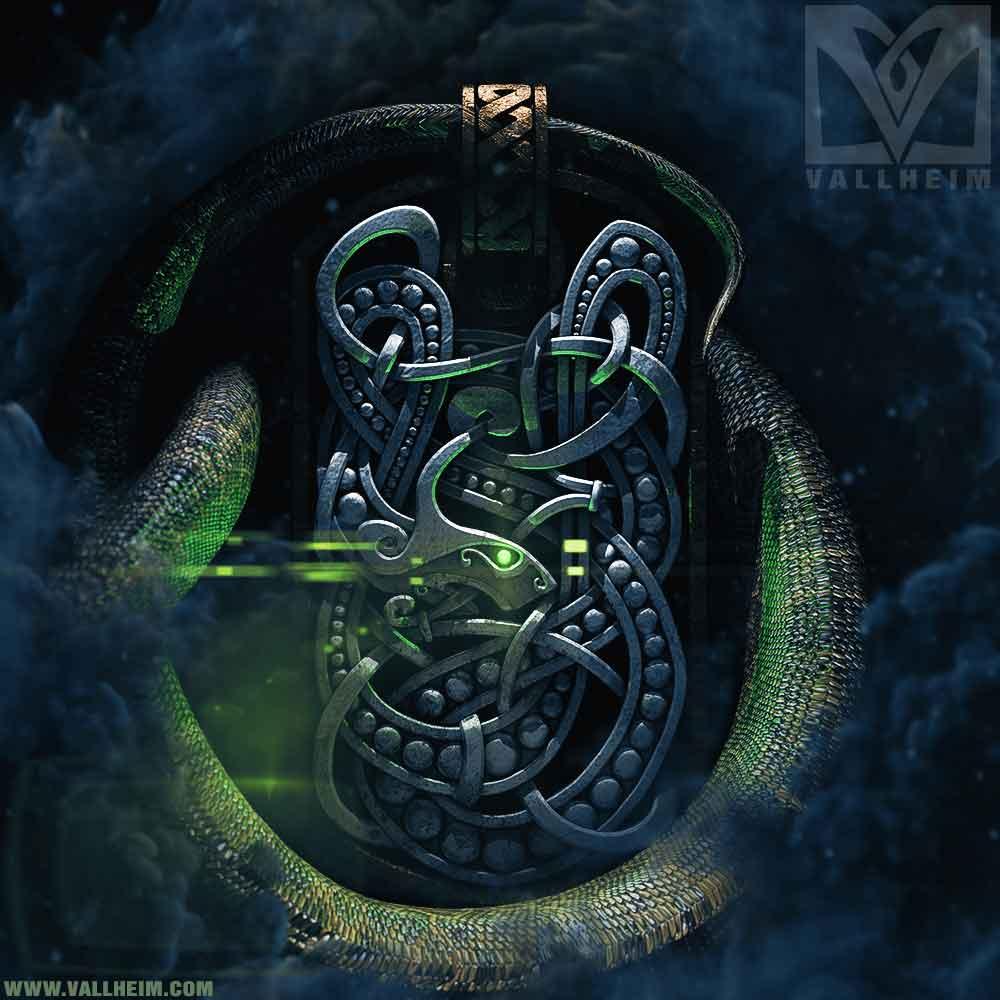 Jörmungandr viking serpent silver pendant vallheim