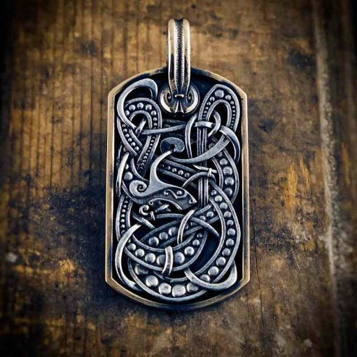 Serpent silver pendant dog tag by Vallheim